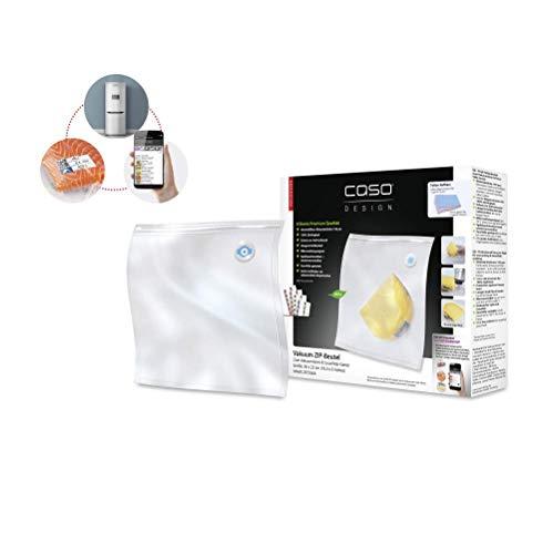 Caso ZIP-Beutel 26x23cm, 20 Stück für Vakuumierer mit ZIP-Adapter, kochfest, für Mikrowelle und Sous Vide geeignet, BPA Frei, stark & reißfest, wiederverwendbar