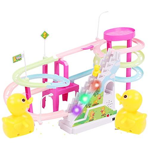 Garuru-Jidong Los patos luminosos eléctricos rotatorios que sube las escaleras de múltiples capas del carril juguetes musicales