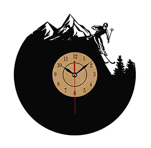 YQOQY Cd Vinyl Wanduhr Moderne Skeleton Mountain Ski Schlitten Klassische Uhr Uhr Extreme Sport Dekorative Wohnzimmer-12inch No LED