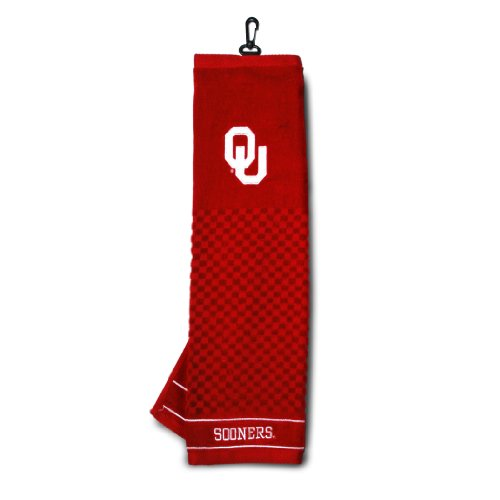 Team Golf NCAA Oklahoma Sooners Embroidered Golf Towel, Checkered Scrubber Design, Embroidered Logo,Multi