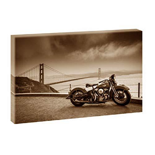 Harley Bike-Blick über die Bucht | V1720474 | Bilder auf Leinwand | Poster Wandbild im XXL Format | Kunstdruck in 120 cm x 80 cm (sepia) | Bild USA United States of America Harley Davidson Bike Motorrad Brücke San Francisco Golden Gate