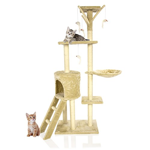 Cozy Pet Deluxe - Árbol rascador para gatos con centro de actividades para rascar juguetes, árboles para gatos con sisal resistente en color beige, gris y rosa.
