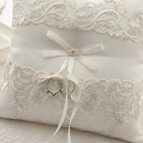 misakiリングピロー完成品レース刺繍パール花リボン指輪交換リングピローウエディング結婚式小物(15x15cm)