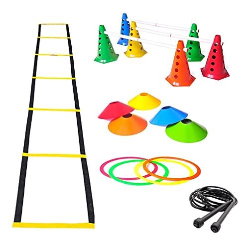 Kit Treino Agilidade Cones Escada Argolas De Circuito Corda