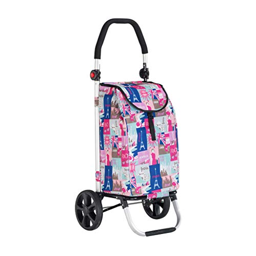 Dessertes Chariot De Magasinage Pliant Petit Pull Sac Portable Chariot De Bagage À Main Remorque De Main Âgée Caddie en Aluminium (Color : Pink, Size : 33 * 37 * 102cm)