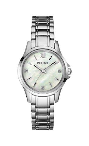 Bulova 96P152 - Reloj de Cuarzo para Mujer con Esfera de nácar, Esfera analógica y Pulsera de Acero Inoxidable Plateado
