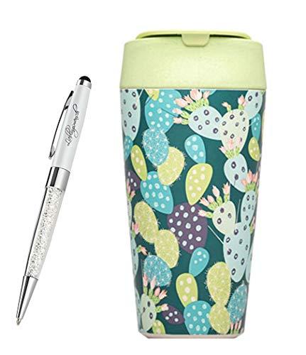 chicmic bioloco Plant Deluxe Cup Trink-Becher to Go   Kaffee-Becher für unterwegs   verschließbar mit Deckel   inkl. Lieblingsmensch Kugelschreiber, Größe:Deluxe Cup, Farbe:Cactus