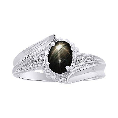 RYLOS Anillos para mujer de oro blanco de 14 quilates, anillo de zafiro de estrella negra, anillo de piedra natal de 7 x 5 mm, joyería de piedras preciosas de color para mujer