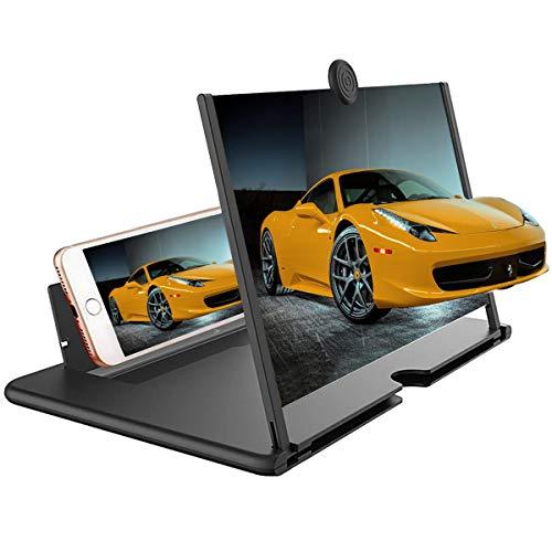 HHZYX 12' Bildschirm-Vergrößerungsglas,3D Bildschirmverstärker,Filmverstärker Telefonhalter Ständer mit Bildschirmvergrößerungsglas für alle Smartphones-Schwarz