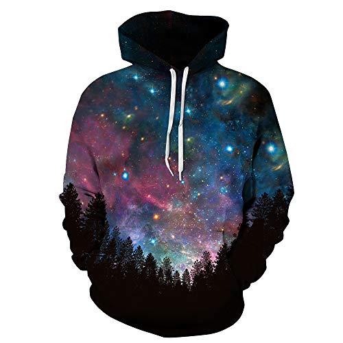 PIZOFF Unisex 3D Digital Forest Under The Galaxy Hoodie Pullover Long Sleeve Hooded Sweatshirts Pockets AM006-10-M
