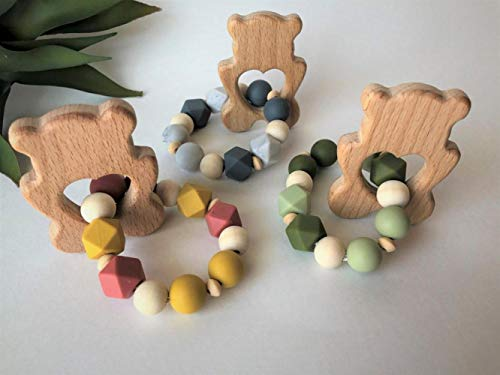 Why Should You Buy Hubert Store Wooden Teether Sensory Baby Toy Baptism Gift, Wood Teething Toy, Mon...