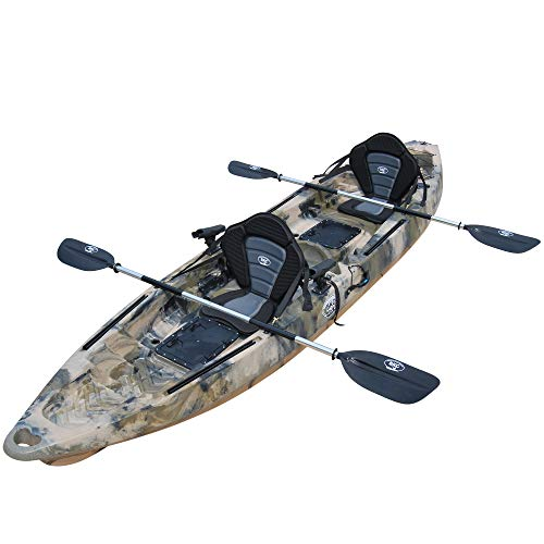 BKC TK122 Angler 12-Foot, 8 inch Tandem 2 or 3 Person Sit On Top Fishing Kayak w/Premium Memory Foam Seats and Paddles (Green Camo) -  Brooklyn Kayak Company, UH-TK122-CAMO-PS223