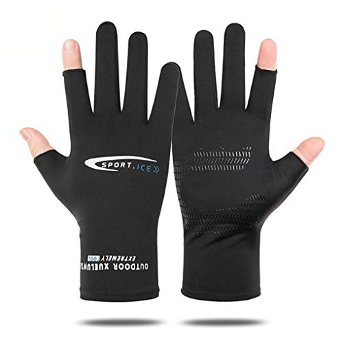 Holiberty Lightweight Silk Summer Gloves Non-Slip Outdoor Sports Driving Cycling Gloves Winter Warm Running Glove Liner Sun UV Protection Fishing Gloves for Women Men (Black, 2/5 Fingerless)