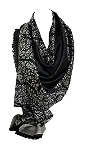 Bullahshah Qualität zwei doppelseitigen Druck selbst geprägte Pashmina Fühlen Wrap Schal Stola Schal (Schwarz Grau Silber)