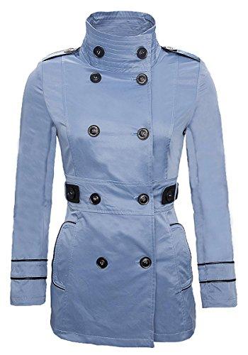 Rock Creek Selection Designer Damen Mantel Übergangsjacke Trenchcoat Jacke Damenmantel D-78 S-XXL [D-78 - HellBlau - Gr. M]