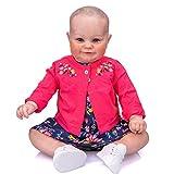 60CM Enorme tamaño Original Reborn Baby Toddler Girl Maddie Cuerpo Suave Dibujo a Mano Pelo 3D Tono de Piel con Venas tamaño de 3-6 Meses