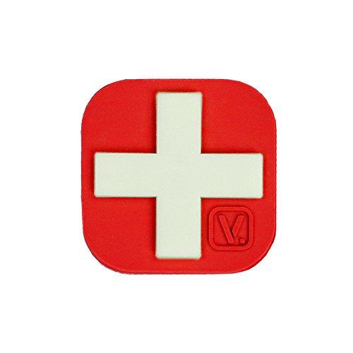 VANQUEST 1-Inch Medical Cross 'Super-Lumen' Glow-in-The-Dark Patch (Red)