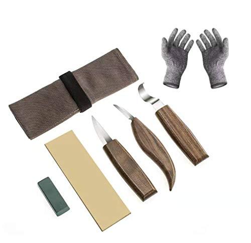 Juego de 6 piezas de herramientas para tallar madera con cuchillo de carpintería, cortador de virutas, afilador de mano, guantes resistentes a los cortes