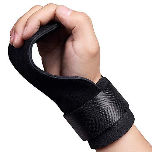 inkfish パワーグリップ トレーニンググリップ 握力をサポート 握力補助・滑り止め2倍アップ 手首ガード 懸垂強度600kg 筋肉を追い込む リストラップ 男女兼用 左右セット 本革 (A: ブラック-本革)