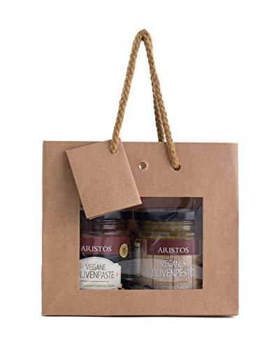 2 teiliges Geschenk Set Brotaufstrich Olivenpesto und Olivenpaste Griechisches-Geschenk | ARISTOS (Tapenade und Pesto)