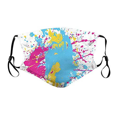 Xiang+y Adults 1PC Personalized Graffiti Print Washable Mask, Dustproof Cloth Cover, Breathable Non-Woven Bandanas, Adjustable Cozy Stretchy Earloop (E)