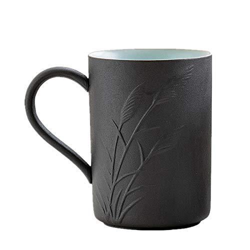 HRDZ Taza con Cuchara Taza Simple Creativo hogar Retro Taza de café con asa Oficina té Taza de Agua de cerámica