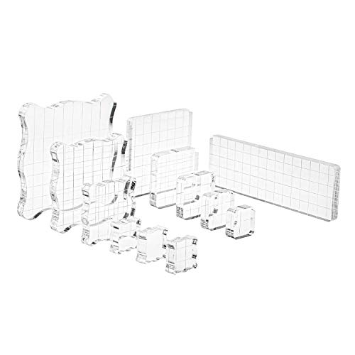 Suwimut 12 Pieces Stamp Blocks, Acrylic Clear Stamping Tools Set with Grid Lines for Scrapbooking, Arts and Crafts Making