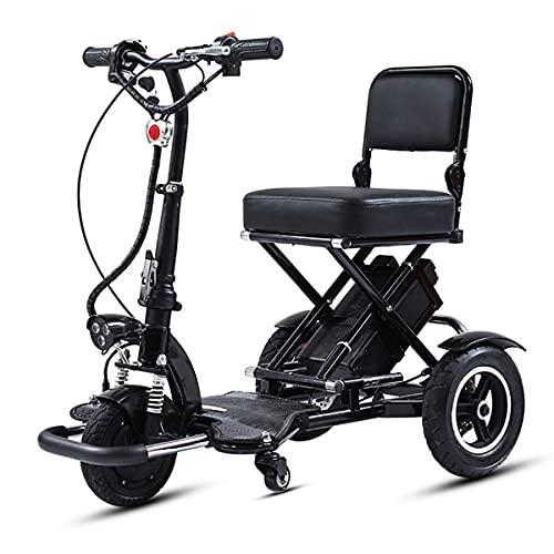 FEIFEImop Plegable Scooter Eléctrico de 3 Ruedas Para Personas Mayores Minusvalido, Portátil Silla de Ruedas eléctrica para discapacitados Scooter movilidad Patinete eléctrico Plegable para Viaje Exte