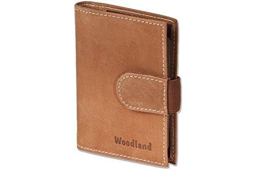 Woodland - caso de la tarjeta de crédito XXL-hecha de piel de becerro con espacio para un total de 18 tarjetas hechas de piel de ante suave, sin tratar en Cognac