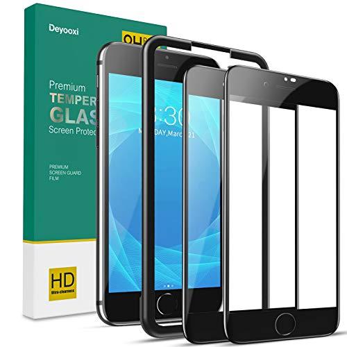 Deyooxi 2 Pezzi Vetro Temperato per iPhone 7/iPhone 8/iPhone SE 2020,Curva Full Screen Pellicola Protettiva Screen Protector Film per iPhone 7/8 /SE 2020,Copertura Completa Protezione Schermo, Nero