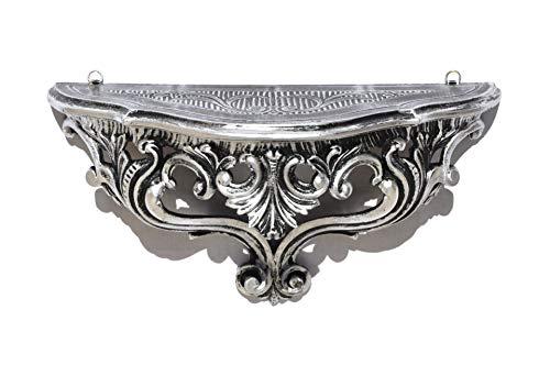Ideacasa Louis XVI Étagère console noire et argentée, style baroque Louis XVI imitation vintage 20 x 38,5 x 15,5 cm