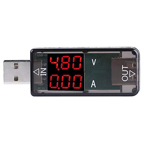 Akozon USB Tester USB Farbe LCD Voltmeter Amperemeter Stromzähler Multimeter Ladegerät USB Tester(Schwarz)