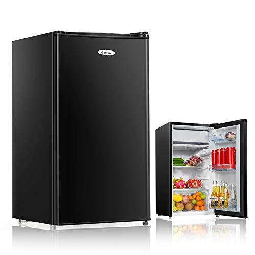 COSTWAY Kühlschrank mit Gefrierfach Standkühlschrank Gefrierschrank Kühl-Gefrier-Kombination / 91L / Schwarz