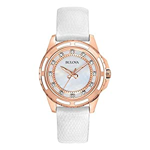 Bulova Women's 98P119 Stainless Steel Diamond-Accented Quartz Watch with Leather Band