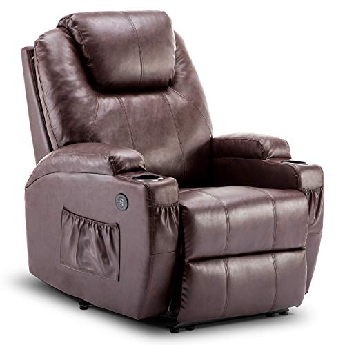 Mcombo Electric Power Recliner Chair with Massage and Heat, 2 Positions, USB Charge Ports, 2 Side Pockets and Cup Holders, Faux Leather 7050 (Dark Brown)