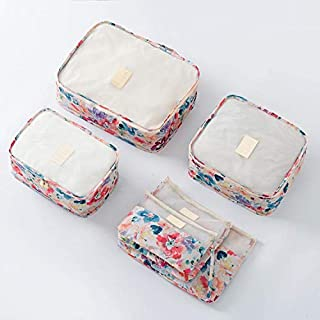 Spring Flower Blossom Pattern 6pcs Travel Luggage Organizer Packing Cubes Storage Bag Pocket Set