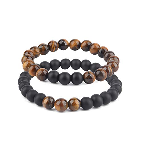 Believe London Distance Bracelets with Jewellery Bag & Meaning Card   Strong Elastic   Friends Relationship Couples His Hers Black Agate Onyx White Howlite (7' Tiger & 8' Agate)