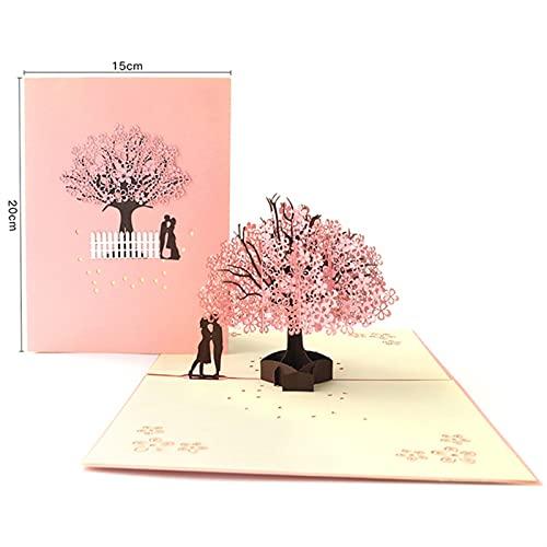 Tarjetas regalo POT 3D HASTA Tarjeta de la boda Cerezo Invitaciones Tarjetas Tarjetas de aniversario del día de San Valentín Saludo Tarjeta hecha a mano Tarjeta Saludo Postal Regalo sorpresa Tarjetas