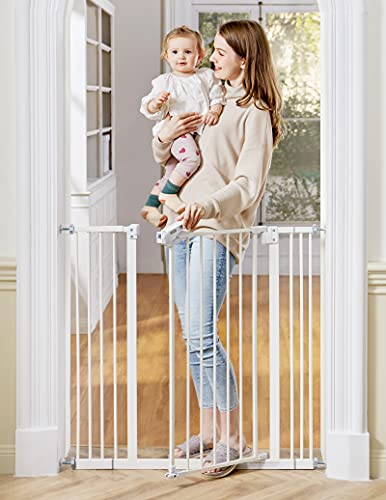 """InnoTruth Extra Tall Baby Gate for for Stairs and Doorways, 29"""" to 39.6"""" Adjustable Width with 36"""" Height,Dog Gate with Wall Pressure Mounted Frame, Auto Close Baby Gates for Toddler and Pet"""