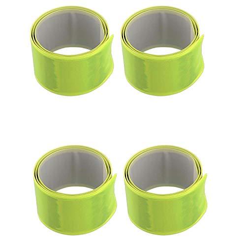 AVANA Reflektorband Reflektierendes Schnapparmband Reflektor Armband Sicherheit Joggen Radfahren Fahrrad Laufen Kinder Leuchtband Klatscharmband Reflexband 4er-Set