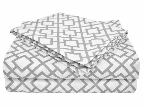 American Baby Company 100% Cotton Percale Toddler Bedding Sheet Set, Gray Lattice, 3 Piece by American Baby Company