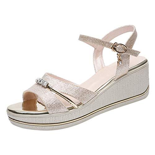 Sandali Donna Eleganti Sandali con Zeppa da Donna Sandali con Cinturino alla Caviglia Calzari con Bocca di Pesce Sandali con Fondo Spesso Pantofole Moda