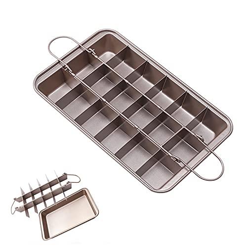 Molde cuadrado para hornear brownie, con base antiadherente, se puede quitar herramientas de pan, marco de acero al carbono resistente a altas temperaturas, puede contener 18 porciones.