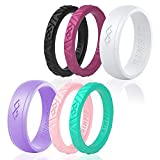 Rinfit Silicone Wedding Rings for Women 3 Or 6 Ring Pack - Designed Rubber Rings. Unique Set of Thin and Stackable Wedding Bands for Women. U. S. Design Patent Pending