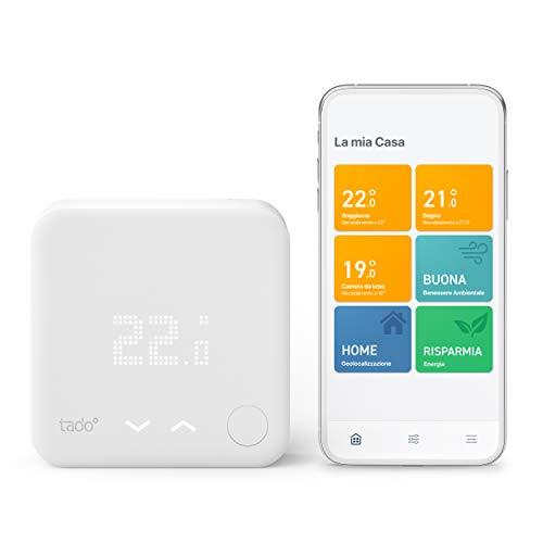 tado° Termostato Inteligente Cableado Kit de Inicio V3+ – Control inteligente de calefacción, Instálalo tú mismo, Trabaja con Alexa, Siri & Asistente de Google, Funciona con pilas recargables