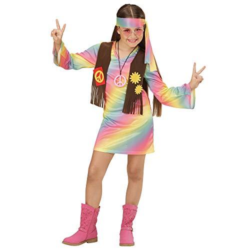 WIDMANN 73357?Disfraz de hippie Chica vestido angenähte Chaleco Y Cinta, Arco Iris, tamaño 140 , color/modelo surtido