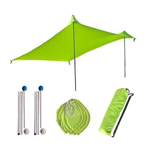 Playa Tienda de campaña Ligera Playa Parasol Parasol Toldo Lona Refugio portátil para Playa Recorrido Que acampa al Aire Libre Verde
