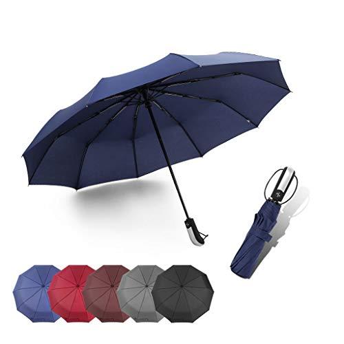 GFYS1201 Zakparaplu winddichte paraplu voor op reis, automatische compacte paraplu voor dames en heren, bediening met één hand, 10 glasvezel ribben