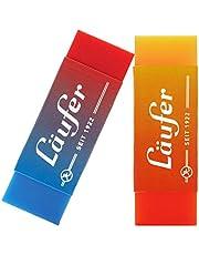 Läufer 69825 Plast Color Gumka Dwukolorowa Gumka Niezawodnie usuwa ołówki i kolorowe ołówki Blister karta zawiera 2 gumki do szkoły, domu i biura dwukolorowy pomarańczowy/żółty i czerwony/niebieski