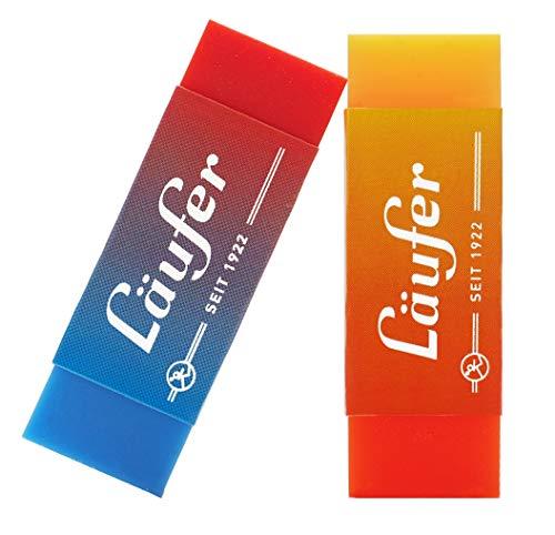 Läufer 69825 Plast Color, gomma bicolore, cancella in modo affidabile matite e matite colorate, in blister contiene 2 gomme per la scuola, la casa e l'ufficio, bicolore arancione, giallo, rosso e blu